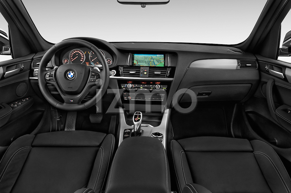 Stock photo of straight dashboard view of a 2015 BMW X3 M Sportpakket 5 Door Suv Dashboard