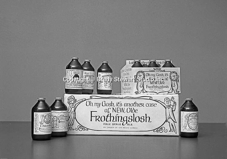 Client: Pittsburgh Brewing Company<br /> Ad Agency: Ketchum, MacLeod &amp; Grove<br /> Contact:<br /> Product: Olde FrothingSlosh<br /> Location:  Brady Stewart Studio at 725 Liberty Avenue in Pittsburgh<br /> <br /> Radio personality Rege Cordic's beer joke turned into successful annual Christmas promotions for Pittsburgh Brewing  - 1968.  Rege Cordic invented commercials for a beer called the &quot;Pale Stale Ale&quot;.  The commercials were so popular that Pittsburgh Brewing bought the rights to bottle it.