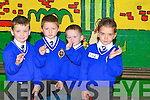 &nbsp;WAVING: Waving goodbye to their parents were, l-r: Greg Scanlon, Jack Bourke, Tristen O'Brien and Elliot Lynch (Tralee) as they headed into their classrooms for their first day at CBS Clounalour Primary School on Monday.<br />