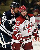 Colin Dueck (Yale - 21), Colin Blackwell (Harvard - 63) - The Yale University Bulldogs defeated the Harvard University Crimson 5-1 on Saturday, November 3, 2012, at Bright Hockey Center in Boston, Massachusetts.