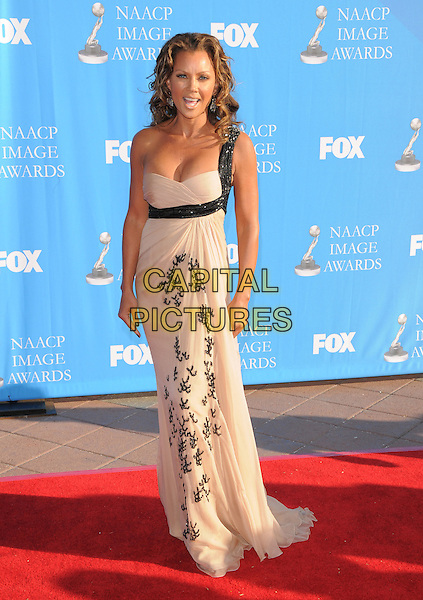 VANESSA L. WILLIAMS.Attends The 39th NAACP Image Awards held at The Shrine Auditorium in Los Angeles, California, USA..February 14th, 2008        .full length beige dress black detail print one shoulder.CAP/DVS.©Debbie VanStory/Capital Pictures.