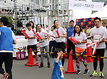 September 30, 2017, Tokyo, Japan - Miss Universe 2007 Riyo Mori (C), former figure skater Miki Ando (2nd L) and Takahiko Kozuka (L) cheer for runners at a charity run for the Special Olympics at Toyota's showroom Mega Web in Tokyo on Saturday, September 30, 2017. Some 1,800 people participated the charity event as Japan's Special Olympic Games will be held in Aichi in 2018.   (Photo by Yoshio Tsunoda/AFLO) LWX -ytd-