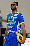 Trento, Italy - 27/03/2014<br /> Casa Modena's French spiker Earvin Ngapeth reacts plays the ball during the play off Volley-ball match of Italian Serie A1 on 27/03/2014 in Trento.