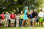 Lexi Thompson hits her ball onto the 9th green at the LPGA Championship 2014 Sponsored By Wegmans at Monroe Golf Club in Pittsford, New York on August 17, 2014