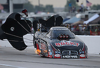 Apr. 26, 2013; Baytown, TX, USA: NHRA funny car driver Matt Hagan during qualifying for the Spring Nationals at Royal Purple Raceway. Mandatory Credit: Mark J. Rebilas-