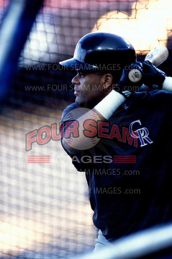 Neifi Perez of the Colorado Rockies participates in a Major League Baseball game at Dodger Stadium during the 1998 season in Los Angeles, California. (Larry Goren/Four Seam Images)