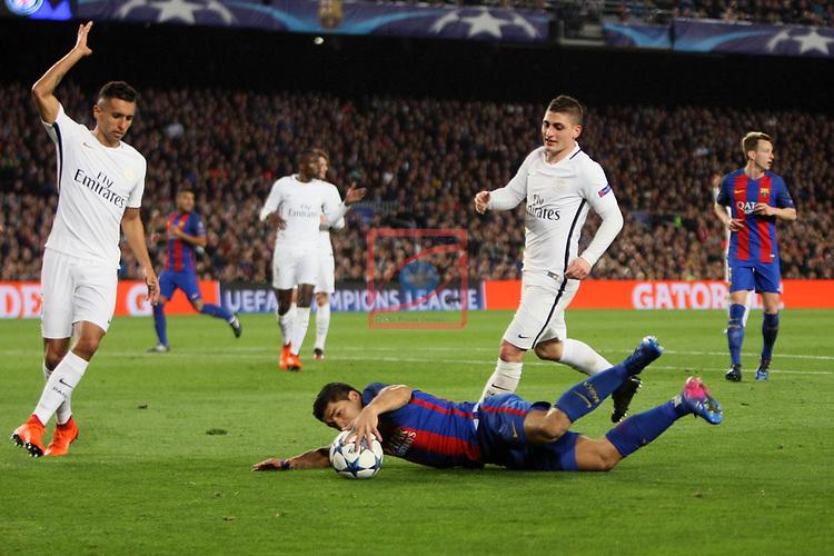 UEFA Champions League 2016/2017.<br /> Round of 16 2nd leg<br /> FC Barcelona vs Paris Saint-Germain: 6-1.<br /> Luis Suarez vs Marco Verratti.