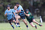 Tom Mann tries to stop Epiphany Toalima.  Counties Manukau Premier 3 Counties Power Club Rugby Round 1 game between Maramarua and Weymouth, played at Maramarua on Saturday April 7th, 2018. Weymouth won the game 43 - 17 after leading 33 - 0 at halftime.<br /> Photo by Richard Spranger.