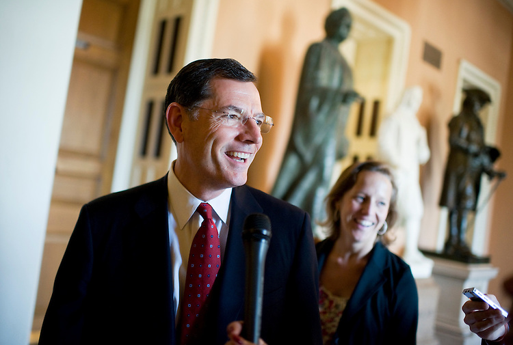 UNITED STATES - JULY 31:  Sen. John Barrasso, R-Wyo., talks with reporters in the Capitol on Sunday when the Senate convened in attempt to reach an agreement on raising the debt ceiling before the August 2 deadline.  (Photo By Tom Williams/Roll Call)