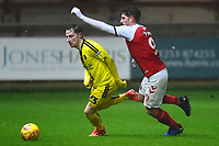 Fleetwood Town's Ched Evans competes with Burton Albion's Stephen Quinn<br /> <br /> Photographer Richard Martin-Roberts/CameraSport<br /> <br /> The EFL Sky Bet League One - Saturday 15th December 2018 - Fleetwood Town v Burton Albion - Highbury Stadium - Fleetwood<br /> <br /> World Copyright &not;&copy; 2018 CameraSport. All rights reserved. 43 Linden Ave. Countesthorpe. Leicester. England. LE8 5PG - Tel: +44 (0) 116 277 4147 - admin@camerasport.com - www.camerasport.com