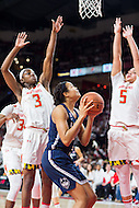 College Park, MD - DEC 29, 2016: Maryland Terrapins guard Kaila Charles (3) and Maryland Terrapins guard Destiny Slocum (5) fall for a pump fake by Connecticut Huskies guard/forward Napheesa Collier (24) during game between No. 1 UConn and the No. 3 Terrapins at the XFINITY Center in College Park, MD. UConn defeated Maryland 87-81. (Photo by Phil Peters/Media Images International)