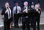 Duke Lafoon, Karl Kenzler and Kara Guy from 'Clinton' performs in a special preview of the 2014 New York Musical Theatre Festival (NYMF) at Ford Foundation Studio Theatre in The Pershing Square Signature Center on July 2, 2014 in New York City.