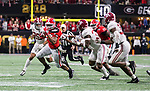 Georgia Bulldogs running back Nick Chubb (27) is pursued by the Alabama Crimson Tide defense in the fourth quarter of the NCAA College Football Playoff National Championship at Mercedes-Benz Stadium on January 8, 2018 in Atlanta. Alabama defeated Georgia 26-23. Photo by Mark Wallheiser/UPI