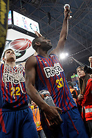 FC Barcelona Regal's Xabi Rabaseda and Pete Mickeal (r) celebrate the victory in the Spanish Basketball King's Cup Final match.February 07,2013. (ALTERPHOTOS/Acero)