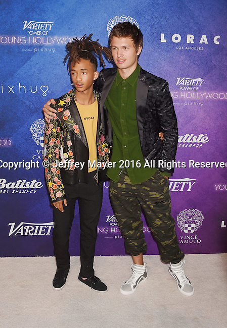 HOLLYWOOD, CA - AUGUST 16: Actors Jaden Smith (L) and Ansel Elgort arrive at Variety's Power Of Young Hollywood at NeueHouse Hollywood on August 16, 2016 in Los Angeles, California.