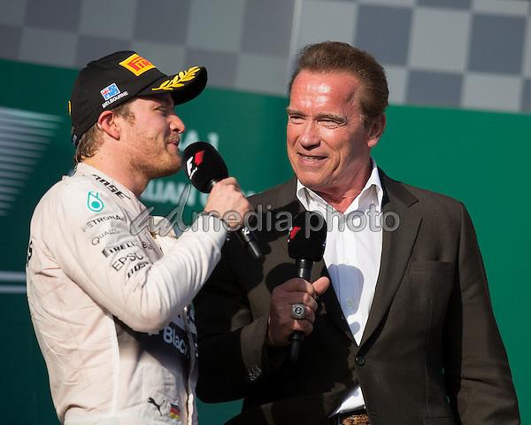 Nico Rosberg; Mercedes Grand Prix, Arnold Schwarzenegger, formula 1 GP, Australien in Melbourne, 15.03.2015. Photo: mspb/Lucas Wroe/face to face/AdMedia
