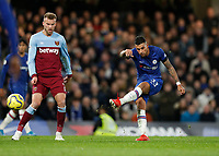 30th November 2019; Stamford Bridge, London, England; English Premier League Football, Chelsea versus West Ham United; Emerson Palmieri of Chelsea taking a shot - Strictly Editorial Use Only. No use with unauthorized audio, video, data, fixture lists, club/league logos or 'live' services. Online in-match use limited to 120 images, no video emulation. No use in betting, games or single club/league/player publications