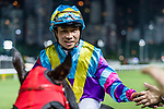 Jockey #3 Dylan Mo Hin-tung riding Most Beautiful shakes hands with fans after winning the race 3 during Hong Kong Racing at Happy Valley Racecourse on September 05, 2018 in Hong Kong, Hong Kong. Photo by Yu Chun Christopher Wong / Power Sport Images