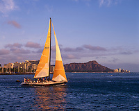 Sailboat, Waikiki & Diamond Head Crater, Honolulu, Oahu, Hawaii, USA.