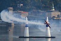 0708193783a Red Bull Air Race international air show qualifying runs over the river Danube, Budapest preceding the anniversary of Hungarian state foundation. Hungary. Sunday, 19. August 2007. ATTILA VOLGYI