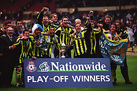 Manchester City celebrate winning the Nationwide League Division Two Play-Off Final during Manchester City vs Gillingham, Nationwide League Division Two Football at Wembley Stadium on 30th May 1999