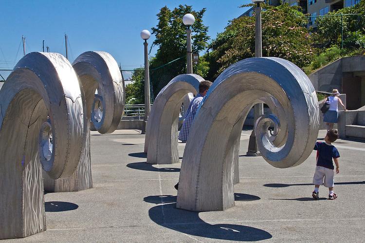 Seattle, Ballard, Hiram M. Chittenden Locks, Army Corps of Engineers, Public art, Salmon waves, sculpture by Paul Sorey, Washington State; Pacific Northwest; U.S.A.;