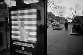 Washington DC.District of Columbia.USA.February 4, 2007..A bus stop poster in central Washington DC urges the closing of US controlled Guantanamo Bay prison.....