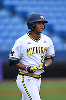 Michigan Wolverines outfielder Johnny Slater (25) during the second game of a doubleheader against the Siena Saints on February 27, 2015 at Tradition Field in St. Lucie, Florida.  Michigan defeated Siena 6-0.  (Mike Janes/Four Seam Images)