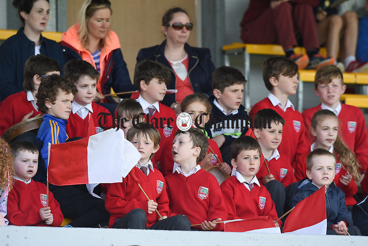 Inch NS pupils during their camogie  game against Ballyea at the Clare Primary schools Hurling and Camogie finals in Cusack Park. Photograph by John Kelly.