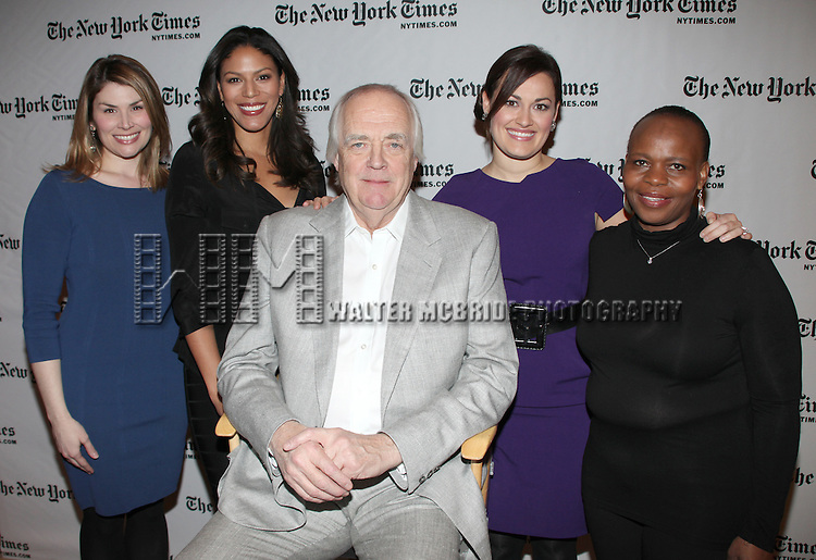 """Sir Tim Rice & Friends"" - (L-R) Actress Heidi Blickenstaff, actress Merle Dandridge, lyricist and author Tim Rice, actress Ashley Brown and actress Tshidi Mayne  attend a One Night Only Concert at the 10th Annual New York Times Arts & Leisure Weekend in New York City."