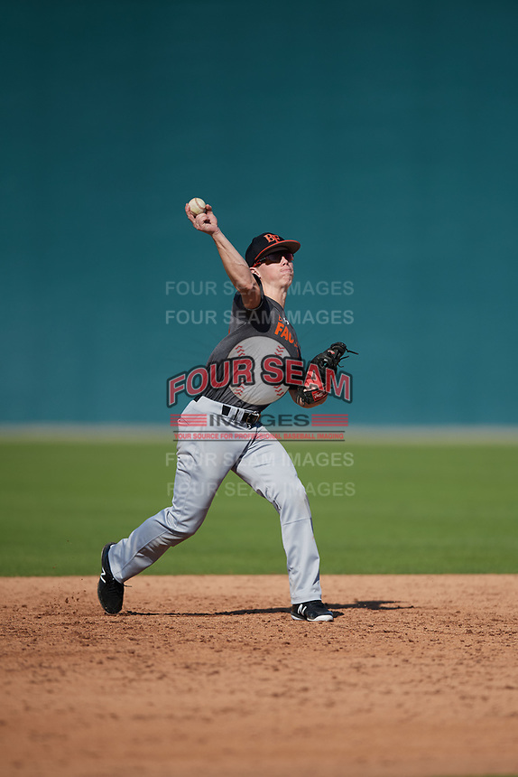 Michael Dewald (64), from Broken Arrow, Oklahoma, while playing for the Giants during the Baseball Factory Pirate City Christmas Camp & Tournament on December 28, 2017 at Pirate City in Bradenton, Florida.  (Mike Janes/Four Seam Images)