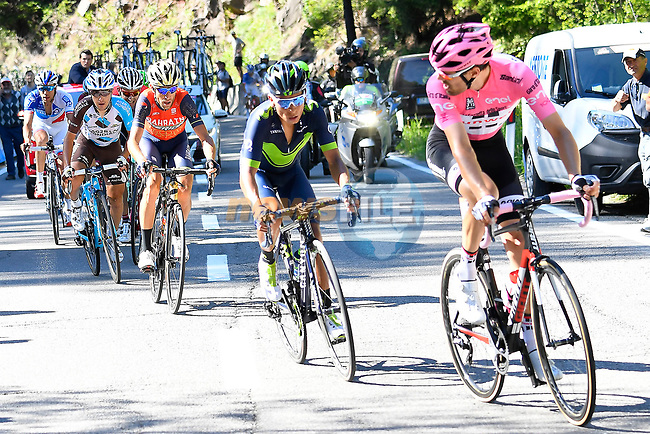 Race leader Tom Dumoulin (NED) Team Sunweb leads Nairo Quintana (COL) Movistar, Vincenzo Nibali (ITA) Bahrain-Merida and Domenico Pozzovivo (ITA) AG2R near the end of Stage 18 of the 100th edition of the Giro d'Italia 2017, running 137km from Moena to Ortisei/St. Ulrich, Italy. 25th May 2017.<br /> Picture: LaPresse/Fabio Ferrari | Cyclefile<br /> <br /> <br /> All photos usage must carry mandatory copyright credit (&copy; Cyclefile | LaPresse/Fabio Ferrari)