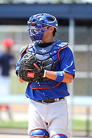 GCL Mets catcher Hector Alvarez #2 during practice before a game against the GCL Nationals at the Washington Nationals Minor League Complex on June 20, 2011 in Melbourne, Florida.  The Nationals defeated the Mets 5-3.  (Mike Janes/Four Seam Images)