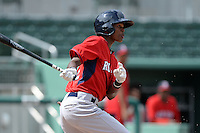 Boston Red Sox outfielder Yoan Aybar (32) during an Instructional League game against the Minnesota Twins on September 26, 2014 at jetBlue Park at Fenway South in Fort Myers, Florida.  (Mike Janes/Four Seam Images)