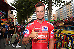 Race leader Red Jersey Nicolas Roche (IRL) Team Sunweb at sign on before the start of Stage 3 of La Vuelta 2019 running 188km from Ibi. Ciudad del Juguete to Alicante, Spain. 26th August 2019.<br /> Picture: Luis Angel Gomez/Photogomezsport | Cyclefile<br /> <br /> All photos usage must carry mandatory copyright credit (© Cyclefile | Luis Angel Gomez/Photogomezsport)