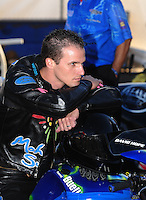 Nov 11, 2010; Pomona, CA, USA; NHRA pro stock motorcycle rider David Hope during qualifying for the Auto Club Finals at Auto Club Raceway at Pomona. Mandatory Credit: Mark J. Rebilas-