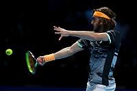 15th November 2019; 02 Arena. London, England; Nitto ATP Tennis Finals; Stefanos Tsitsipas (Greece) with a forehand return Rafael Nadal (Spain) - Editorial Use