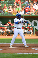 Justin Chigbogu (56) of the Ogden Raptors at bat against the Idaho Falls Chukars in Pioneer League action at Lindquist Field on July 26, 2014 in Ogden, Utah.  (Stephen Smith/Four Seam Images)