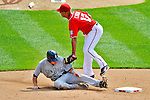 29 May 2011: Washington Nationals infielder Alex Cora gets San Diego Padres center fielder Blake Tekotte out in an attempted steal to end the top of the 6th inning at Nationals Park in Washington, District of Columbia. The Padres defeated the Nationals 5-4 to take the rubber match of their 3-game series. Mandatory Credit: Ed Wolfstein Photo