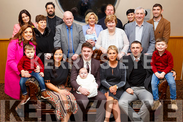 Baby Jack Anthony Galvin christening in the Ballroom Heights Hotel with his parents and godparents, grandparents and family on Saturday evening last.<br /> Seated l to r, Catherina Galvin (Godmother), Dad and Mom Ray and Michelle, Owen Carroll (Godfather)