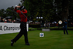 Justin Rose tees off on the opening hole during the final round of the BMW PGA Championship at Wentworth Club, Surrey, England 27th May 2007 (Photo by Eoin Clarke/NEWSFILE)