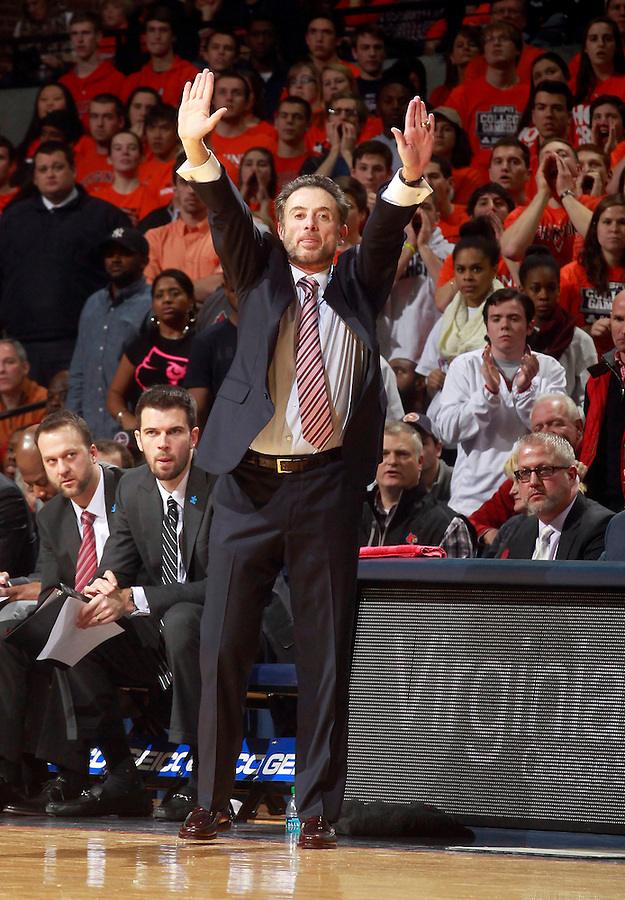 Louisville head coach Rick Pitino during an NCAA basketball game Saturday Feb. 7, 2015, in Charlottesville, Va. Virginia defeated Louisville  52-47. (Photo/Andrew Shurtleff)
