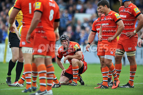 Julian Salvi looks dejected during a break in play. Aviva Premiership match, between Bath Rugby and Leicester Tigers on September 20, 2014 at the Recreation Ground in Bath, England. Photo by: Patrick Khachfe / Onside Images