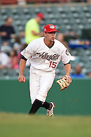 Tri-City ValleyCats first baseman Ricky Gingras (15) during a game against the Batavia Muckdogs on August 2, 2014 at Joseph L. Bruno Stadium in Troy, New  York.  Tri-City defeated Batavia 8-4.  (Mike Janes/Four Seam Images)