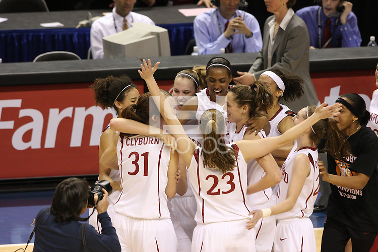 10 March 2008: Stanford Cardinal (not in order) Cissy Pierce, Morgan Clyburn, Jayne Appel, Kayla Pedersen, Candice Wiggins, Ashley Cimino, Rosalyn Gold-Onwude, Melanie Murphy, Hannah Donaghe, and Jeanette Pohlen during Stanford's 56-35 win against the California Golden Bears in the 2008 State Farm Pac-10 Women's Basketball championship game at HP Pavilion in San Jose, CA.