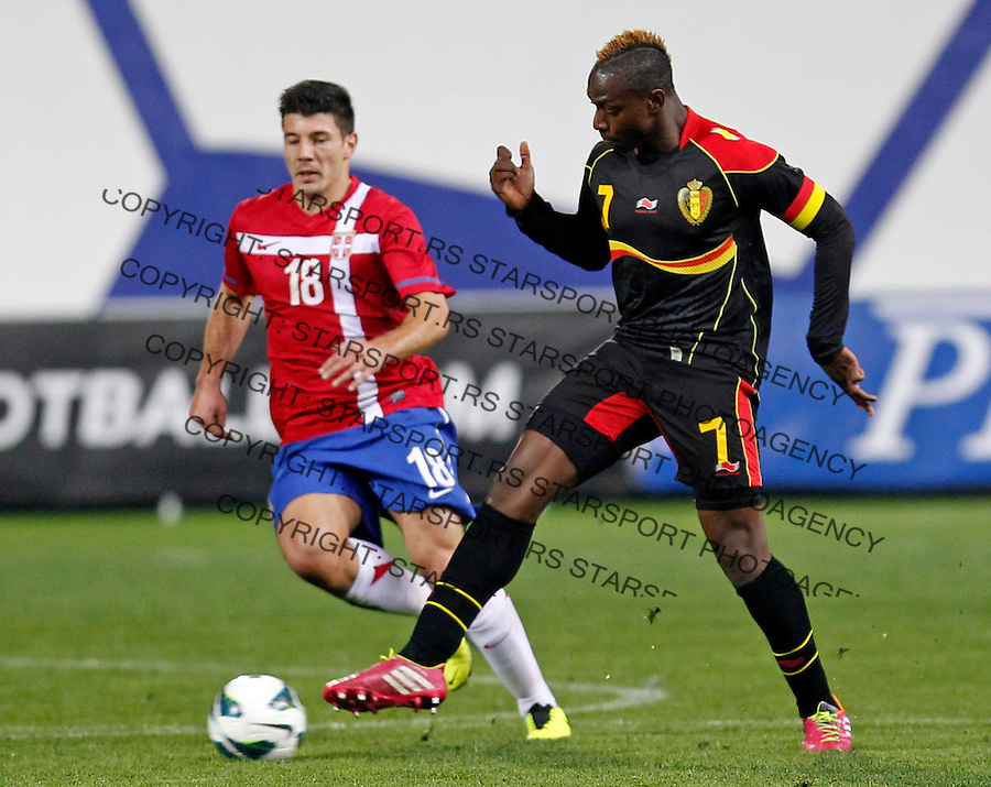 Belgium`s Mpoku Ebunoe Jose (7) and Serbia`s Milos Jojic in action during UEFA Under-21 qualification round group 9 football game between Serbia and Belgium at Metalac stadium in Gornji Milanovac, Serbia on Friday, November 15, 2013. (credit: Pedja Milosavljevic  / thepedja@gmail.com / +381641260959)