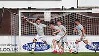Ched Johnson (Ex on the Beach) celebrates what would have been the winning goal at 7-7 but it is disallowed during the 'Greatest Show on Turf' Celebrity Event - Once in a Blue Moon Events at the London Borough of Barking and Dagenham Stadium, London, England on 8 May 2016. Photo by Andy Rowland.