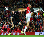 Zlatan Ibrahimovic of Manchester United wins a header  during the UEFA Europa League match at Old Trafford Stadium, Manchester. Picture date: September 29th, 2016. Pic Matt McNulty/Sportimage