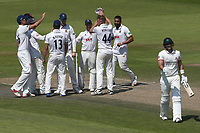 Jamie Porter of Essex celebrates with his team mates after taking the wicket of Liam Livingstone during Lancashire CCC vs Essex CCC, Specsavers County Championship Division 1 Cricket at Emirates Old Trafford on 11th June 2018