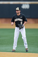 Wake Forest Demon Deacons second baseman Zach Piazza (6) on defense against the Towson Tigers at Wake Forest Baseball Park on March 1, 2015 in Winston-Salem, North Carolina.  The Demon Deacons defeated the Tigers 15-8.  (Brian Westerholt/Four Seam Images)